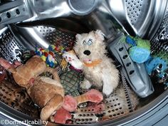Domesticability: How To Wash Dog Toys: I'm deep cleaning my house and have been searching for a trick for dog toys! :)