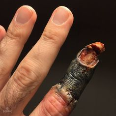 Rotting finger with detached fingernail using Pierce Plasto morticians wax and skin illustrator. SFX Artist:Powdah FX, Australia
