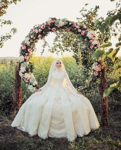 Image may contain: 1 person Muslim Wedding Gown, Hijabi Wedding, Muslimah Wedding Dress, Groom Wedding Dress, Muslim Wedding Dresses, Muslim Brides, Bridal Dresses, Wedding Gowns, Bride Groom