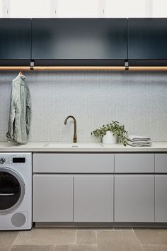 FEATURED PROJECTS — Louise Walsh Laundry Room Doors, Laundry Room Storage, Ikea, Modern Laundry Rooms, Laundry Room Inspiration, Interior Design Business, Laundry Room Design, Australian Homes, House On A Hill