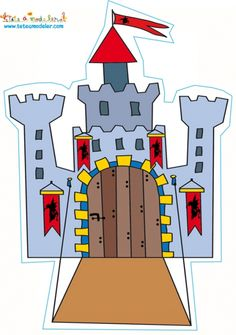 coloriage Décoration chateau au pont-levis Fairy Tale Crafts, Fairy Tale Theme, Fairy Tales, Tuxedo Card, Quiet Book Tutorial, Castle Crafts, Fairy Tale Activities, Knight Party, Pop Up Box Cards