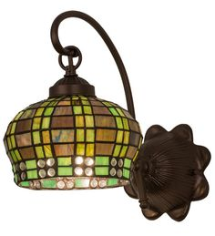 """7""""W Tiffany Jeweled Basket Stained Glass Wall Sconce"""