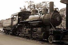 Restored steam engine at Virginia City. Nevada. Engine originally used to supply gold mines.