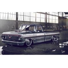 Hot Wheels - Crazy Ford beast here igers, love the injection stacks and exhaust exit, real or render? Tag the creator or owner! #ford #f100 #airsuspension #bagged #stance #raked #layframe...