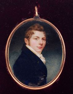 "American School - (19th century) Fine portrait miniature of a Young Man wearing a Blue Coat, verso with window revealing pressed foil with opalescent glass overlay, feathered hair ornament bound with pearls and monogram""JW"", watercolor on ivory, 2-3/8 x 2 in.; gilt copper bezel locket frame"