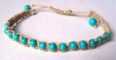 Handmade macrame hemp bracelet with teal beads, boho style hemp bracelet, adjustable hemp bracelet