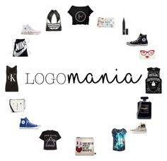 """""""Logo Mania"""" by thechamberofsecrets ❤ liked on Polyvore featuring Calvin Klein, Floyd, Kate Spade, NIKE, Chanel, Lulu Guinness, Converse, Sephora Collection, adidas and cute"""