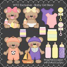ECU-Baby Girl Bear  Clipart