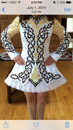 Dazzling White Shamrock Stitchery Irish Dance Dress Solo Costume For Sale