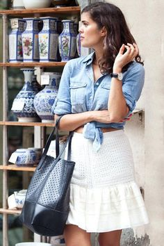 Cute summer outfit ideas: a chambray shirt, knotted