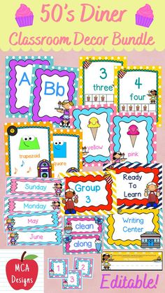 Check out my 50's Diner Classroom Décor bundle features all you need to have a fresh new look for your classroom this fall! Check out the preview for a quick look at this colorful theme. My 50's Diner Classroom Décor Bundle features my ENTIRE 50's Diner collection including several editable features! #teacherspayteachers #tpt #classroommanagement #backtoschool Classroom Décor, Classroom Supplies, Classroom Posters, 50s Diner, Teaching Resources, Classroom Resources, Teacher Hacks, Hands On Activities, Classroom Management