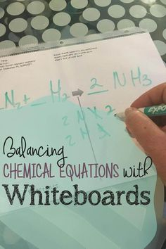 Tear down the mental block for balancing chemical equations by giving students whiteboards. Works better than anything I have tried to increase success. Chemistry Classroom, High School Chemistry, Teaching Chemistry, Chemistry Lessons, Chemistry Experiments, Science Chemistry, Physical Science, Science Lessons, Science Fair
