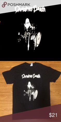 """Women's Christian Death """"Rozz"""" Goth tee! Each shirt is screen printed by hand on a brand new, super soft, 💯% cotton, pre-shrunk women's black tee with white ink and is available in women's sizes XS-XL. Please check out my other listings for men's Christian Death tees as well as additional men's and women's tanks, tees & more for all of your favorite bands! As always, thank you for shopping small with AGIAG! Trades always welcome! Please note the photos are of a men's tee, not women's…"""