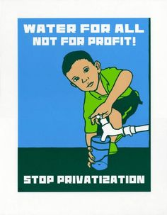 """""""Water for All"""", Melanie Cervantes, 14"""" x 18"""" 4-color screen print, Arches 88 archival cotton paper, Printed in San Leandro, 2013  """"Water for all"""" is a poster derived from a piece I designed in 2008 when I traveled with fifteen other artists to Ecatepec, Mexico to participate in El Festival de Nuevos Vientos. Access to water and the threat of privatization of the natural resource were pressing issues for several communities in Ecatepec, as they are increasingly worldwide. W"""