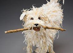 Dog with Stick Mâché sculpture by Nancy Winn