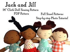 This listing is for a PDF sewing pattern and 22 page step-by-step black and white photo tutorial on how to make a 14 inch tall boy or girl doll. Pattern includes 4 different styles of hair, a skirt, shorts, and shoe style variation. Mix and match for great results! Great for using fat quarters and larger scraps. This is a full sized pattern. Main fabric you will need: - 1/4 yd. or 1 'fat quarter' of fleece for hair - 1/4 yd. or 1 'fat quarter' of skin tone quilting cotton - 1&#x...