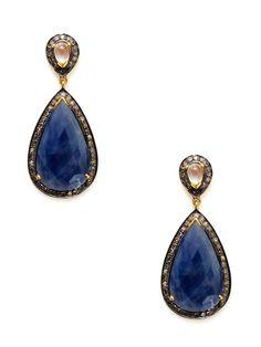 Rainbow Moonstone & Sapphire Double Teardrop Earrings by Amrapali on Gilt.com