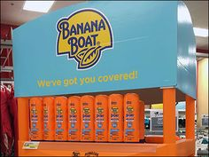 Global Warming is friend to Hawaiian Tropic and Banana Boat Sun Tan products, so those brands celebrate the Summer selling season with a full-size floor display flying the corporate livery of Orang… Banana Boat, Hawaiian Tropic, Global Warming, Shelf, Label, Tropical, Retail, Weight Loss, Floor