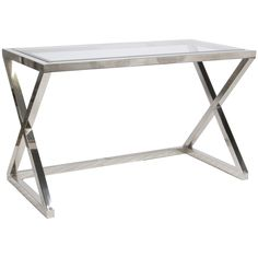 worlds away mark nickel plated desk/console - A streamlined silhouette still hits high glam notes as the Mark desk is a study in style. Worlds Away's strong design resonates in its polished X legs and a glass top.