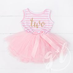 Second Birthday outfit dress with gold letters by GraceandLucille