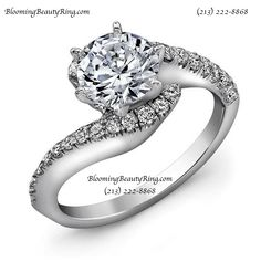 A very pretty wrap around style round diamond engagement ring with a secure 6 prong head by BloomingBeautyRing.com  (213) 222-8868