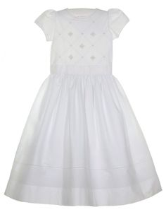 NEW Will'Beth White Batiste Dress with Rosebud and Pearl Clusters and Fagoted Trim $125.00