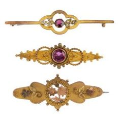 Lot: Three early 20th century bar brooches. To include an, Lot Number: 0423, Starting Bid: £70, Auctioneer: Fellows, Auction: Jewellery, Date: July 6th, 2017 CDT