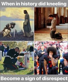 When in history did kneeling become a sign of disrespect