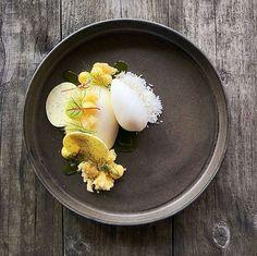 Sour cream • white chocolate • lemon • dill • coconut • @chef_louisrobinson #food #foodie #foodporn #foodgasm #foodgram #foodphotography #sourcream #cream #icecream #whitechocolate #pastry #lemon #dill #goodlife #cheflife #pastrychef #gourmet #art #artonaplate #sweet #dessert #sweettooth #fancy #instafood #chocolate #summer #baking #coconut #fruit #patisserie .