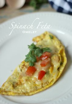 Spinach Feta Omelet-low carb, full of veggies and flavor!
