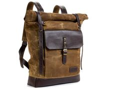 Olive green waxed canvas backpack. Waxed canvas leather backpack. Brown leather…