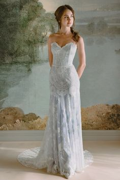 Wedding Dresses by Claire Pettibone: Timeless Bride Collection Wedding Dresses by Claire Pettibone: Timeless Bride Collection Soft gray blue bridal gown Eloise lace wedding dress by Claire Pettibone from the Timeless Bride Collection Photo by Kelle Sauer Wedding Dress Backs, Blue Wedding Dresses, Sweetheart Wedding Dress, Bridal Dresses, Modest Wedding, Unique Colored Wedding Dresses, Sheath Lace Wedding Dress, Light Blue Wedding Dress, Blue Weddings