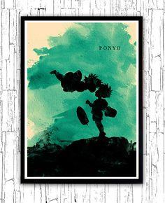Cartel de película minimalista de Hayao Miyazaki Ponyo