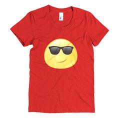 Expressive Cool Emoji Women's Short Sleeve Poly-Cotton T-shirt