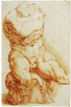 Hendrick Goltzius (Bracht-am-Niederrhein Haarlem) The Belvedere Torso, 1591 Red chalk, 255 x 166 mm The Teylers Museum, Haarlem, inv. N 31 Human Anatomy Drawing, Human Figure Drawing, Guy Drawing, Drawing People, Anatomy Sketches, Art Sketches, Art Drawings, Academic Drawing, Anatomy Sculpture