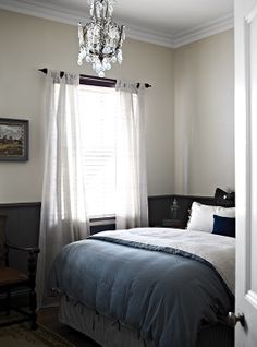 9 Refreshing Tips AND Tricks: Wainscoting Full Wall Dark Wood dark wainscoting ceilings.Wainscoting Bathroom Entry Ways wood wainscoting stairs. Black Wainscoting, Dining Room Wainscoting, Wainscoting Panels, Wainscoting Nursery, Wainscoting Ideas, Painted Wainscoting, Gray Bedroom, Bedroom Decor, Bedroom Ideas