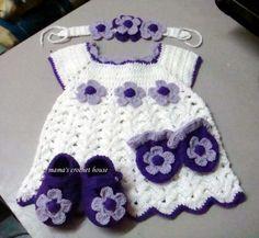 Vestidinho para bebê em crochê - Atelie Biba Baby Enxovais
