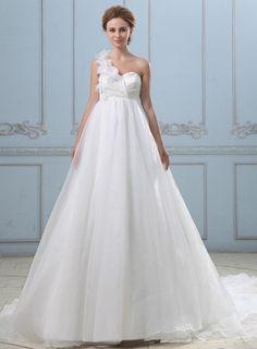 New Arrival Bridal Dress One Shoulder Decoration Beautiful Flowers Vestido De Novia Sirena Vintage Lace Up Wedding Dress 2015
