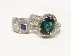 Sapphire & diamond art deco square ring, Why have one when you can have two? Diamond Art, Sapphire Diamond, Coloured Stone Rings, Square Rings, Halo Rings, Gemstone Colors, Heart Ring, Art Deco, Wedding Rings
