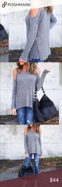 ‼️ COMING SOON ‼️  Soft cotton loose tee with adorable peekaboo shoulder cutouts. Fun zipper accent slit on the sides. I absolutely adore this tee!! Available in gray. Sizes will be avail in S,M,L. Fun for every season  Tops Tees - Long Sleeve