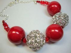 ~Momma Goddess~  Bold Red and Crystal Necklace  - $45.00