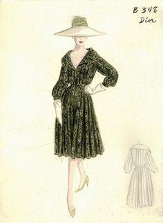 Figurini di moda vintage dall'archivio del Bergdorf Goodman Store di New York abito di Dior