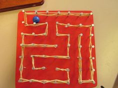 Nail maze for marble - Nail maze for marble - Arts And Crafts For Adults, Crafts For Kids, Sand Crafts, Diy And Crafts, Kids Barn, Woodworking Projects For Kids, Arts And Crafts Movement, String Art, Activities For Kids