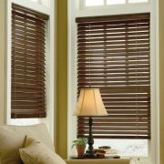 Dark Wood Blinds with White Trim...thinking about doing this in the new house