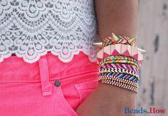 friendship bracelet DIY Spike rivet, chain woven multi-strap cord. So cool!
