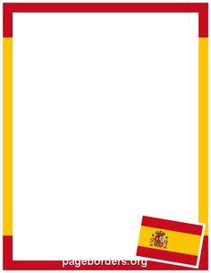 Printable Spanish flag border. Use the border in Microsoft Word or other programs for creating flyers, invitations, and other printables. Free GIF, JPG, PDF, and PNG downloads at http://pageborders.org/download/spanish-flag-border/