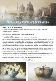 Find your unique painting style on this 3 or 4 day watercolour workshop with International watercolourist, Janine Gallizia. Australian Painting, Option B, Painting Workshop, Unique Paintings, International Artist, Master Class, Watercolour, Style, Watercolor Artists