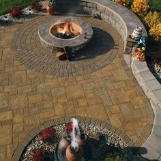 Stamped Concrete Patio with Landscaping Wall Retaining Wall