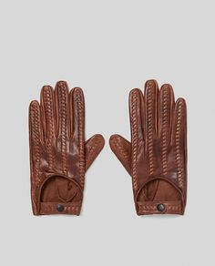 ZARA - MAN - LEATHER GLOVES WITH BRAIDED DETAIL
