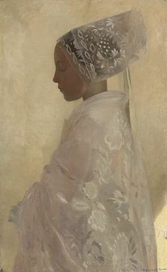 """Gaston la Touche a maiden in contemplation 1898 Art Inconnu - Little-known and under-appreciated art.: Gaston La Touche - """"A maiden in contemplation"""" 1898 Art And Illustration, Illustrations, Woman Painting, Figure Painting, Art Amour, Gaston, Fine Art, Art Plastique, Beautiful Paintings"""